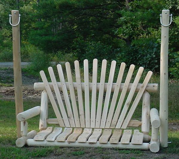 4′ Cedar Log Porch Swing