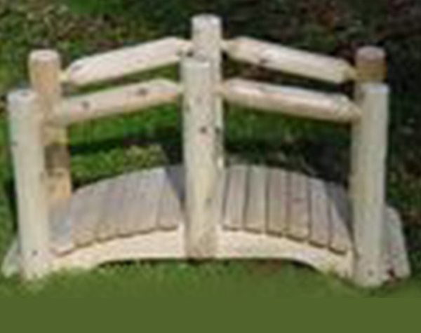 3′ Cedar Arched Bridge with Single Rail