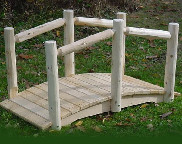 4′ Cedar Arched Bridge with Single Rail
