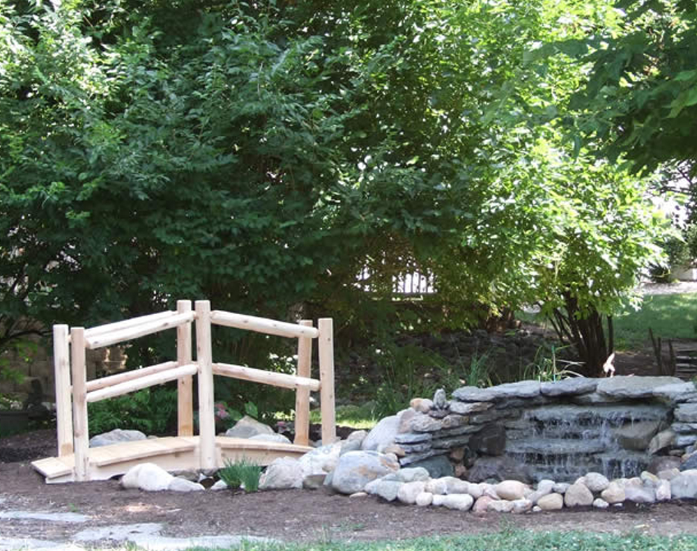 6′ Cedar Arched Bridge with Double Rail