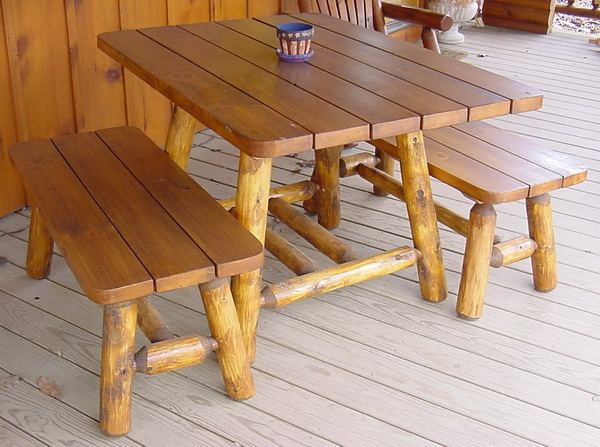 4′ Cedar Log Picnic Table w/2 Side Benches (cabin style)