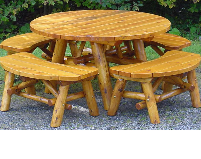 5′ Round Natural Oak Patio Set