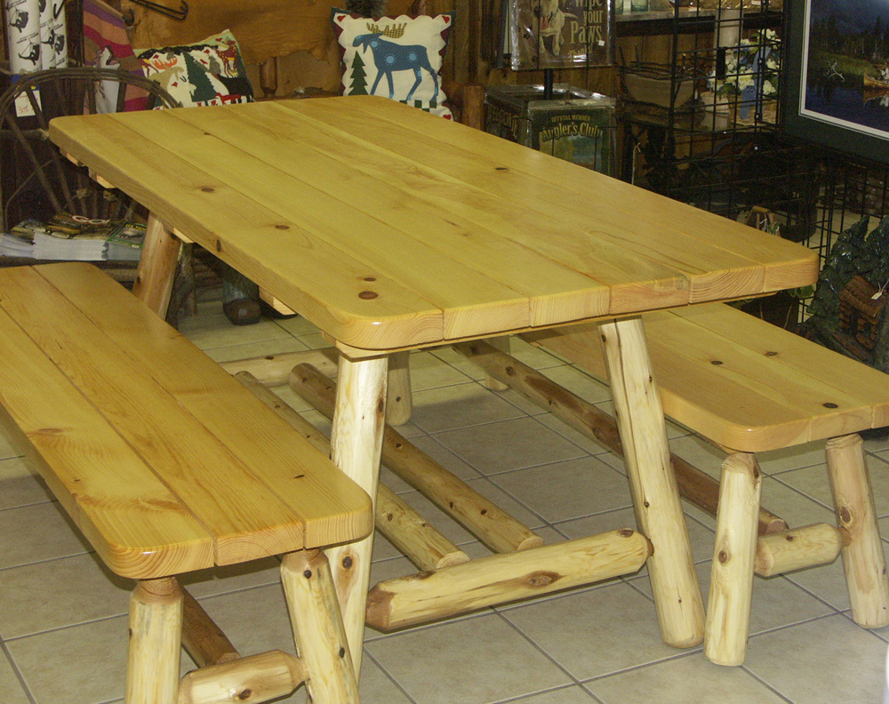 6′ Natural Oak Log Picnic Table w/2 Side Benches (cabin style)