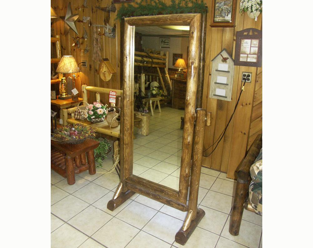 Free Standing Cedar Log Mirror