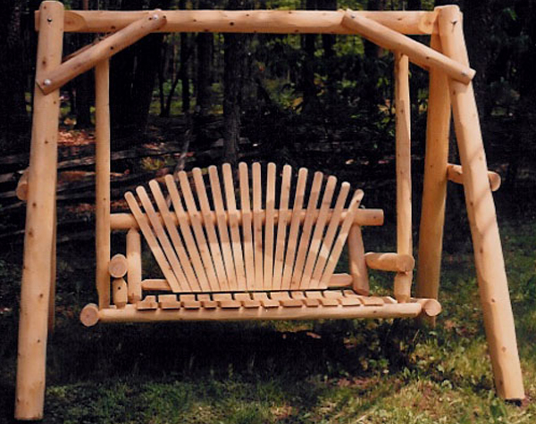 5′ Natural Oak A-Frame Swing